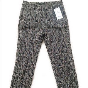Zara Textured Straight Leg Cropped Dress Pants